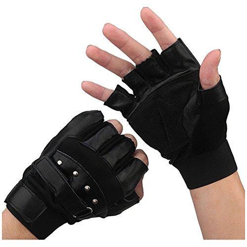 SODIAL(R) Maenner weiche Motorraedern Fuehrer Schaffell Biker Fingerlose Handschuhe Warm