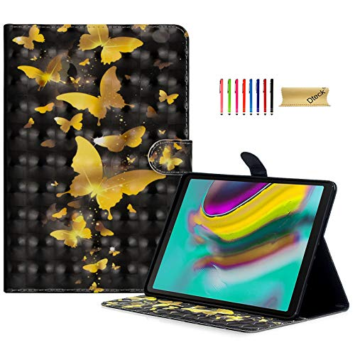 Dteck Case for Galaxy Tab S5e 10.5 2019 Release SM-T720/T725 - Slim Lightweight 3D Premium Leather Folio Stand Shockproof Smart Cover with Auto Wake/Sleep and Card Holders, Gold Butterfly