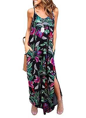 HUSKARY Women's Summer Casual Sleeveless V Neck Strappy Split Loose Dress Beach Cover Up Long Cami Maxi Dresses with Pocket
