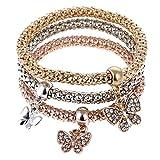 3 Unids/Set Crystal Owl Heart Charm Bracelets \U0026 Bangles Gold/Silver Alloy Elephant Anchor Colgantes Rhinestone Pulseras para Mujeres
