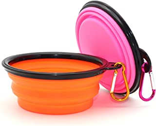 SLSON Collapsible Dog Bowl, 2 Pack Collapsible Dog Water Bowls for Cats Dogs, Portable Pet Feeding Watering Dish for Walki...