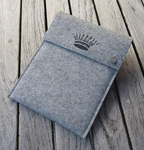 zigbaxx Tablet Hülle CROWN 1 Case Sleeve Filz u.a. für iPad 9.7, iPad Pro 9,7/10,5/11 Zoll (2018), iPad mini 2/3/4, iPad Air, 100% Wollfilz pink schwarz beige grau braun - Geschenk Weihnachten