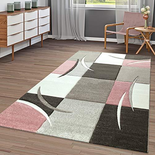 Tapis moderne à carreaux tendance aux couleurs pastels, rose beige gris crème, Polypropylène, 80x150 cm