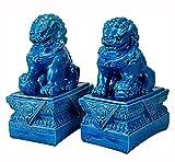 TongNS1 Un par de Leones Guardianes de Piedra de Feng Shui, Estatua de Perro Beijing Foo, Perros Fu, Dos Leones Guardianes, decoración del hogar de cerámica Azul para decoración de Feng