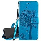 Laybomo Funda para LG Q6 Carcasa Tapa Piel Billetera Cuero con Tarjeteros Magnética Stand Flip Cover Suave Protector TPU Silicona Carcasa para LG Q6, Árbol de Regalo (Azul)