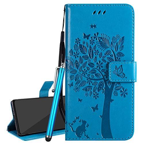 Laybomo Funda para Xiaomi Mi A2 Lite (Redmi 6 Pro) Carcasa Tapa Piel Billetera Cuero con Tarjeteros Magnética Stand Flip Cover Suave TPU Silicona Carcasa para Xiaomi A2 Lite, Árbol de Regalo (Azul)
