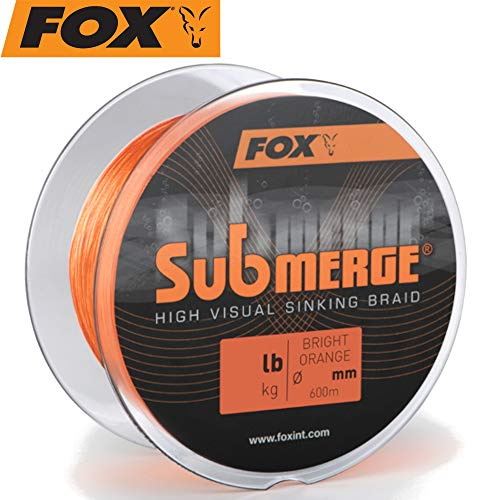 FOX Submerge high Visual orange Sinking Braid - 600m Karpfenschnur, Hauptschnur zum Karpfenfischen, geflochtene Angelschnur für Karpfen, Durchmesser/Tragkraft:0.20mm / 18.1kg / 40lb