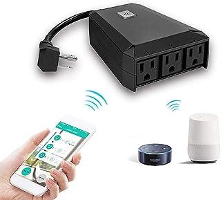 YMXLJJ Enchufe inteligente WiFi Socket 10 A, enchufes inalámbricos, interruptor de temporizador de control remoto, 3 salid...