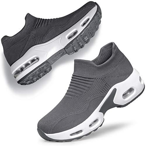 DOUSSPRT Walking Shoes for Women Slip on Sock Sneakers Lady Girls Nurse Mesh Air Cushion Platform Loafers Fashion Casual Grey US Size 8