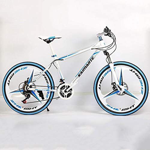 Mountain Bike Bicicletta Biciclette MTB da 24 Pollici Bicicletta Hardtail con Doppio Freno a Disco con 3 Rotella di Taglio Mountain Bike per Tutti i Terreni per Donne Uomini,White Blue,24 Speed
