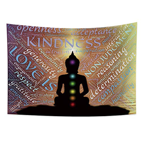 Haoyiyi 59.1x39.4 Inches Buddha Tapestry Wall Hanging Abstract Art Man Mediating Bohemian English Words Fashion Lotus Wall Tapestry Mysterious Psychedelic for Bedroom Decor Picnic Blanket