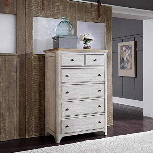 Liberty Furniture Industries Farmhouse Reimagined 5 Drawer Chest, W38 x D19 x H54, White