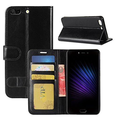 HualuBro Leagoo T5 Hülle, [All Aro& Schutz] Premium PU Leder Leather Wallet Handy Tasche Schutzhülle Hülle Flip Cover mit Karten Slot für Leagoo T5 Smartphone (Schwarz)