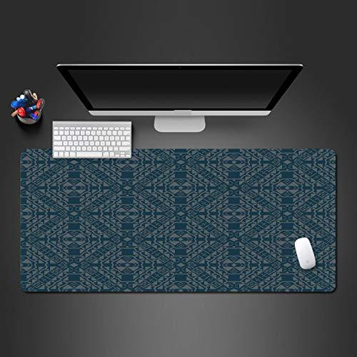JIACHOZI alfombrilla raton ordenador xxl Patrón geométrico azul creativo 1000×500×3 mm grande, antideslizante, con bordes cosidos para ordenador portátil, PC, juegos, almohadilla de escritorio Alfombr