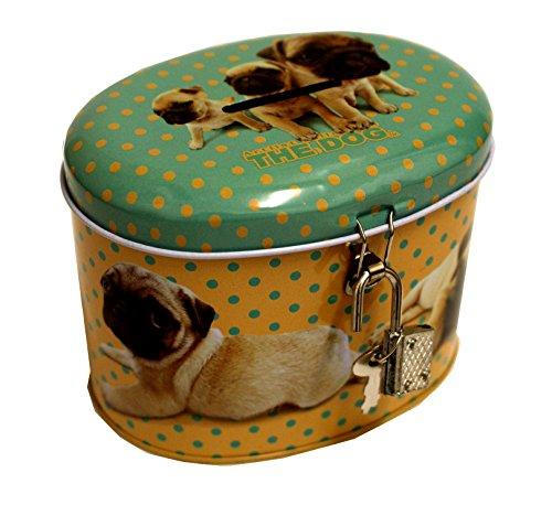 Unbekannt Artlist Collection The Dog Hunde Spardose mit Schloss und Schlüssel (Türkis/Gelb)