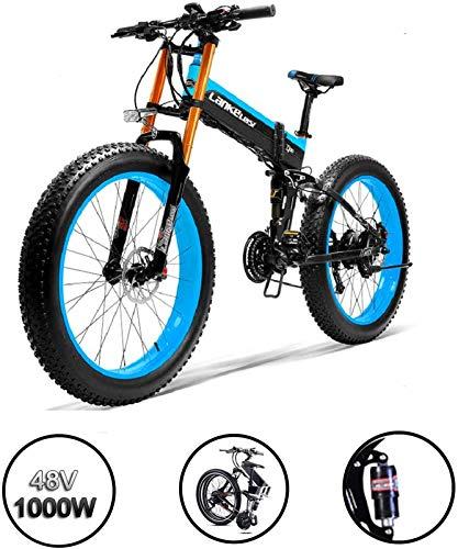Electric Bike Electric Mountain Bike, 1000W Foldable Fat Tire Electric Bike- 14.5AH /48V Lithium Battery MTB Dirtbike 27 Speeds Electric Bicycle 26 Inch E-bike Sports Mountain Bike for the jungle trai
