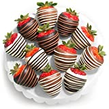 Chocolate Covered Strawberries, 12 Dark/Milk/White Delight