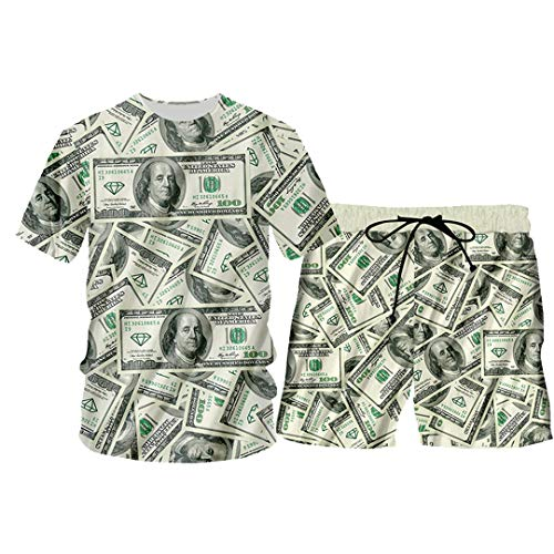 Pandodut 3D Harajulu Lustige 3D Geld-Muster 100 Dollar Print Sweat Suits Sweatshirt + Jogginghose TSSH00198 M