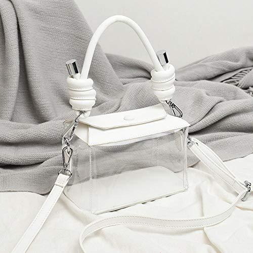 NPYANYAN vrouwelijk zakje transparante kleine vierkante zak casual transparant plastic plastic doos een schouder omslangende handtas