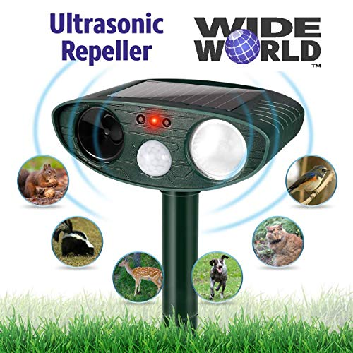 Ultrasonic Pest Repeller by Wide World - Solar Powered Waterproof Outdoor Wild...