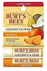 A luxuriously hydrating tinted lip treatment Coconut & Pear and Mango Lip Balm by Burt's Bees for Unisex - 2 x 0.15 oz Lip Balm Lips will appear fuller and more youthful.