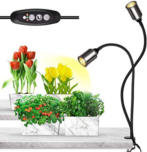Bozily Clip-on LED Grow Lights for Indoor Plants Full Spectrum, Sunlight Growing Lamp with 3/6/12/24H Timer,5 Dimming-75W COB Sunlike House Plant Grow Light,Heat Lamp for Indoor Plants Seedling Veg