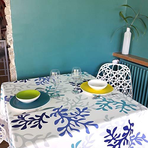 Fleur de soleil ~ Nappe Corail Bleu Coton Enduit ourlée 120x160