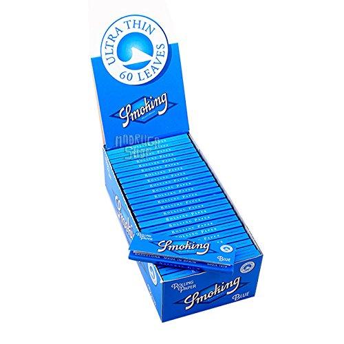 50 Libritos papel de liar Smoking Blue 70 x 37mm 13gr/mt. 60 + 5 hojas/libro ( oferta 65 hojas libro)