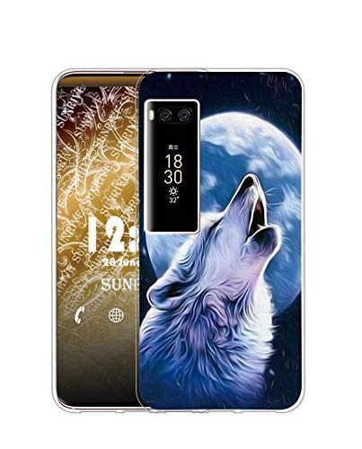 Sunrive Kompatibel mit Meizu PRO 7 Plus Hülle Silikon, Transparent Handyhülle Schutzhülle Etui Hülle (Q Wolf 2)+Gratis Universal Eingabestift MEHRWEG