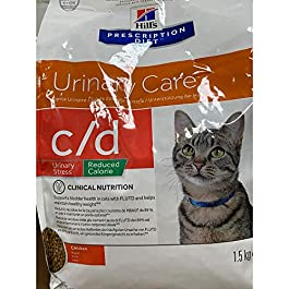 HILL'S PRESCRIPTION DIET Feline C/D Stress Reduced Calorie Urinary Care Dry Cat Food Chicken Flavour 1.5kg