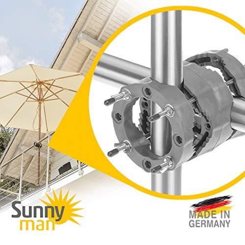 4smile Sonnenschirmhalter Balkongeländer – Sunnyman, der Alleskönner – Universeller Sonnenschirmständer Balkon für Schirme bis Ø 3 m oder 2,50 x 2 m – Schatten optimal, stabil