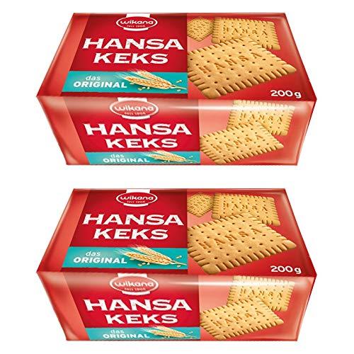 2er Pack Wikana Hansa Keks (2 x 200 g) Mürbekeks sehr knusprig goldgelb gebacken geeignet für Kalter Hund