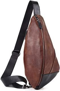 Lcxliga Backpacks Bags Crossbody Rope Men Chest Bag PU Leather Sling Bag Crossbody Shoulder Backpack Chest Pack Travel Bags (Color : Brown)