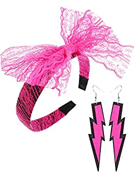 Blulu Women 80s Costume Accessories Lace Headband with Bowknot Neon Earrings for Pop 80 s Party  Rose Red