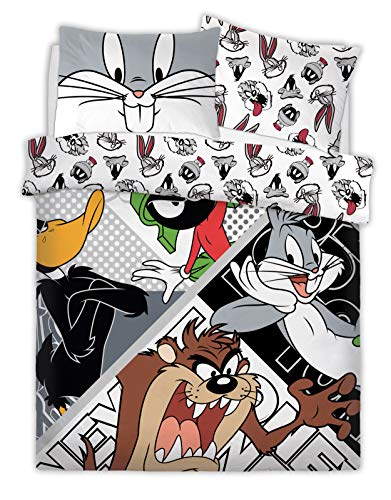 Warner Brothers Reversible Printed Looney Tunes Looney Crew Poly Cotton Duvet Quilt Cover Set, 3 Pcs - Double