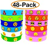 OHill 48 Pack Emoji Emoticons Silicone Wristbands Bracelets Kids Birthday Party Supplies Favors Prize Rewards, Kids Size