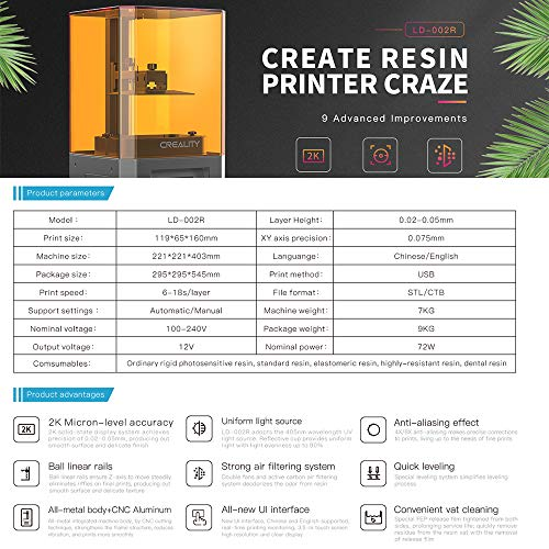 """Creality LD-002R HD LCD Resin 3D Printer – EU Plug Multi-A"" - 9"