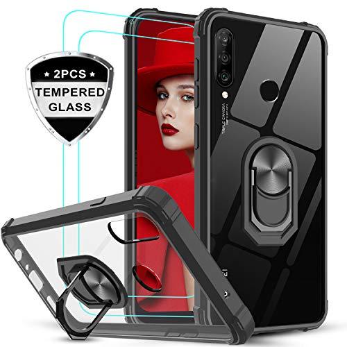 LeYi für Huawei P30 Lite/P30 Lite New Edition Hülle mit Panzerglas Schutzfolie(2 Stück), Ringhalter Schutzhülle Crystal Clear Acryl Cover Handy Hüllen für Case Huawei P30 Lite 2020 Handyhülle Schwarz