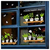 Double-sided Plant Stickers Window Decor Decals, Green Plants Wall Decor Decal, Removable DIY Self-Adhesive Wall Art Mural for Living Room Bedroom Coffee Store Glass Door Decoration (Potted)