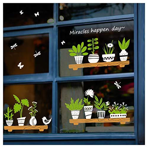 Calcomanías de doble cara para decoración de ventanas, plantas verdes, decoración de pared, removibles, autoadhesivas, para sala de estar, dormitorio, café, tienda de cristal, puerta (maceta)