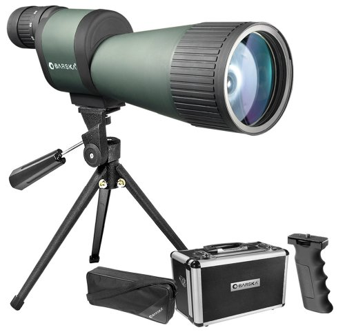 Lowest Prices! BARSKA Benchmark 12-60x78 Straight Spotting Scope with Handheld Tripod, Table Top Tri...