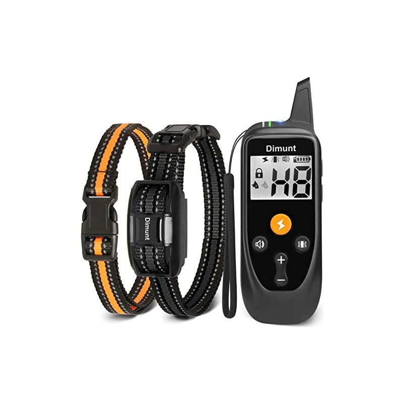dog supplies online dimunt dog training collar - rechargeable shock collars for dogs with remote ip67 waterproof shock collar w/3 training modes, beep, vibration and shock, 3350ft remote range dog collar
