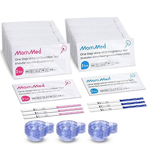 MOMMED Ovulationstest und Schwangerschaftstest, Umfasst 20 Frühschwangerschaftstest, 60 Ovulationstest, 80 Urinbecher, Zeiterfassungstabelle, schnelle und genaue Ergebnisse