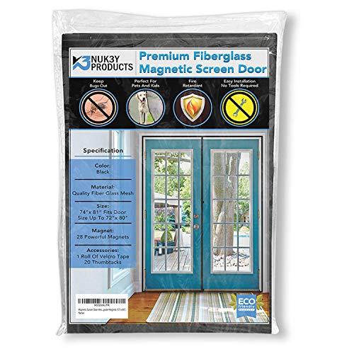Magnetic Screen Door Mesh Curtain Fiberglass New 2021 Design Full Frame Velcro with Upgrade Magnets (72 X 80)