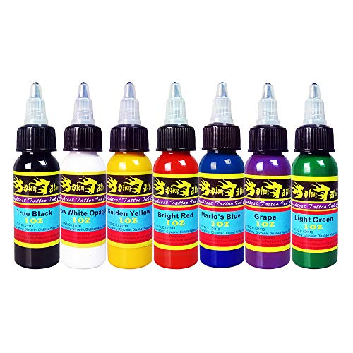 Solong Tattoo Tinte-Set 7 Flaschen 30ML 1oz Gute Qualität Pigment Tattoo Ink Vegan Kit TI301-30-7