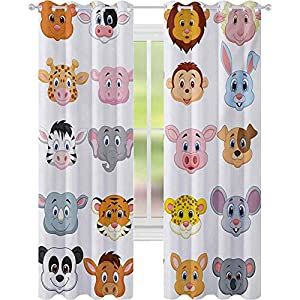 Crib Bedding And Baby Bedding Window Treatments Curtains, Kids Themed Baby Cute Animals Lions Pigs Cows Farm Safari Baby Nursery Room Image, W52 X L63 Thermal Insulated Drapes For Kitchen, Multicolor