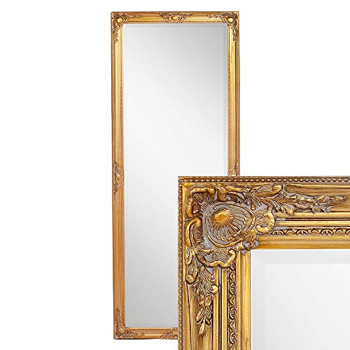 LEBENSwohnART Wandspiegel LEANDOS 180x70cm barock Gold antik Design Spiegel pompös Holzrahmen