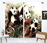 FGYSFT Cortinas Habitacion Niño 3D Arte Pintura Al Óleo Animales Del Bosque Panda 70X245 Cm X 2 Patrón Cortinas Opacas Termicas Aislantes Frío Y Calor Intimidad Para Hogar 2 Piezas Reduccion Ruido Pro