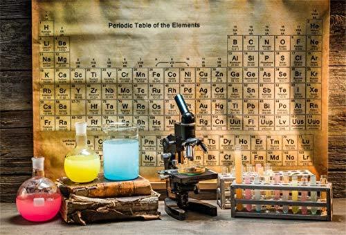 EdCott 9x6ft Vintage Química Laboratorio Telón Fondo Rústico Cabaña Madera Estudio Rural Químico Microscopio Retro Elementos periódicos Tabla Foto Fondo Vaquero Niños Cumpleaños Retrato