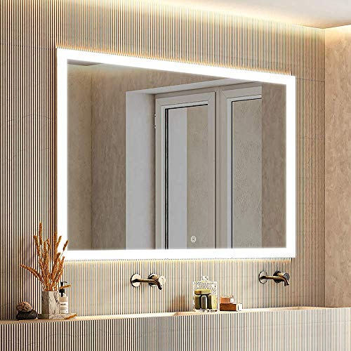 smartrun 48x36 Inch Lighted Bathroom Mirror with Auto-defogger, ONE Dimmer Touch Button, -